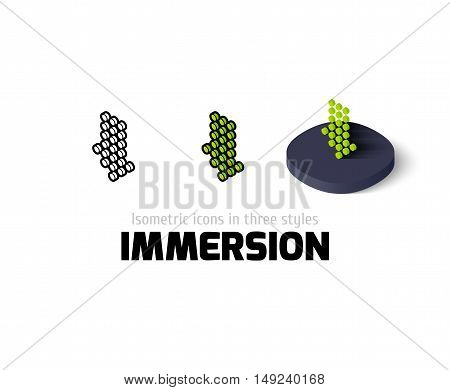 Immersion icon, vector symbol in flat, outline and isometric style