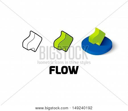 Flow icon, vector symbol in flat, outline and isometric style