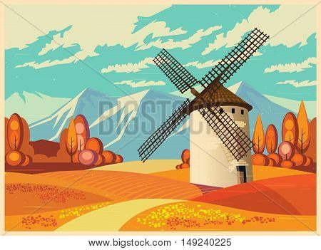 Stylized vector illustration on the theme of European landscapes in autumn old poster style. Windmills fields of Provence the Alps etc. seamless horizontally if necessary.