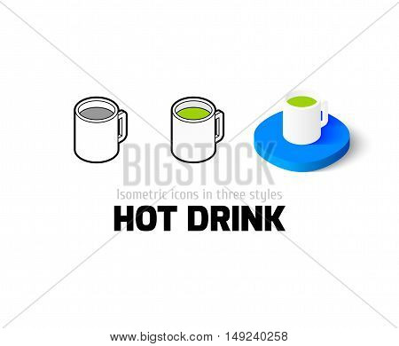 Hot drink icon, vector symbol in flat, outline and isometric style