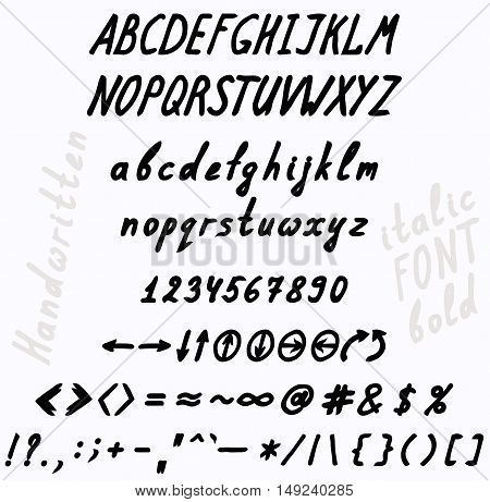 Handwritten bold and italics font. The set of numbers of uppercase and lowercase letters punctuation marks and arrows.