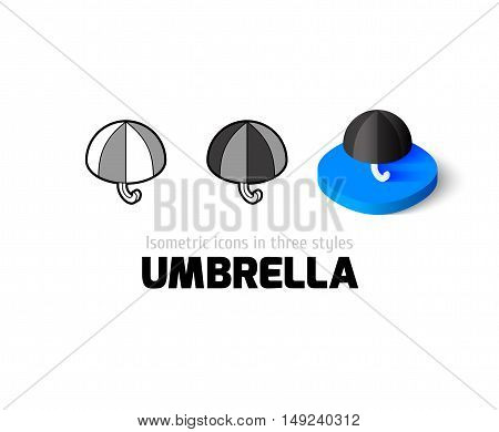 Umbrella icon, vector symbol in flat, outline and isometric style