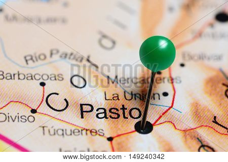 Pasto pinned on a map of Colombia
