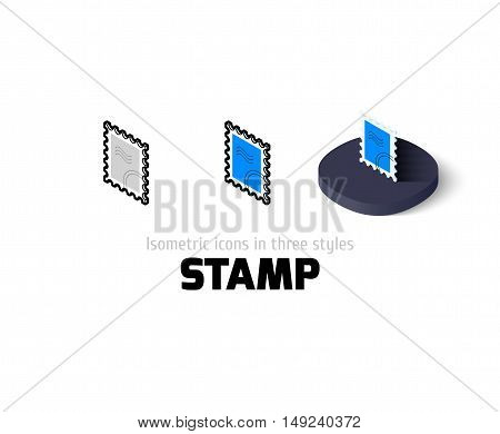 Stamp icon, vector symbol in flat, outline and isometric style