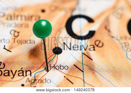 Hobo pinned on a map of Colombia