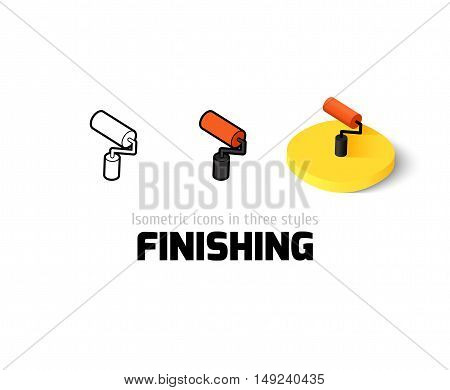 Finishing icon, vector symbol in flat, outline and isometric style