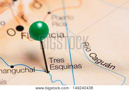 Tres Esquinas pinned on a map of Colombia