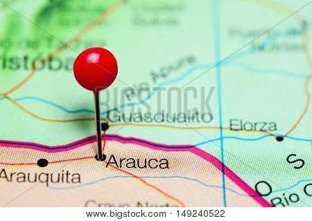 Arauca pinned on a map of Colombia