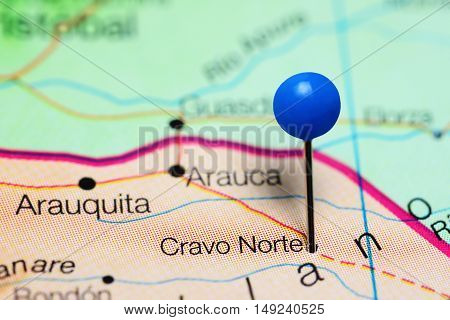 Cravo Norte pinned on a map of Colombia