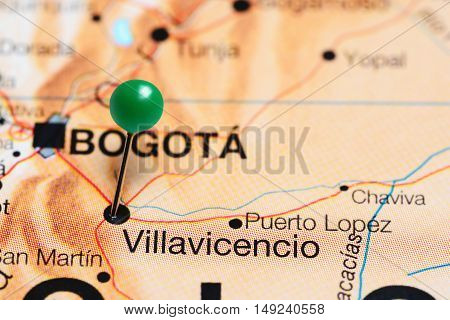 Villavicencio pinned on a map of Colombia
