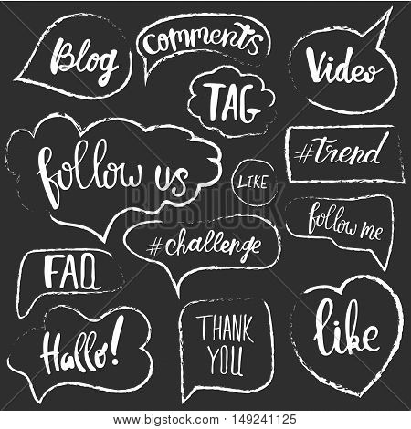 Vector speech bubbles with phrases Blog, Blogger and other. Hand drawn speech bubbles, blog label in grunge style.