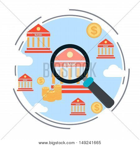 Bank search, financial control, financial audit, monitoring, funds search flat design style vector concept illustration