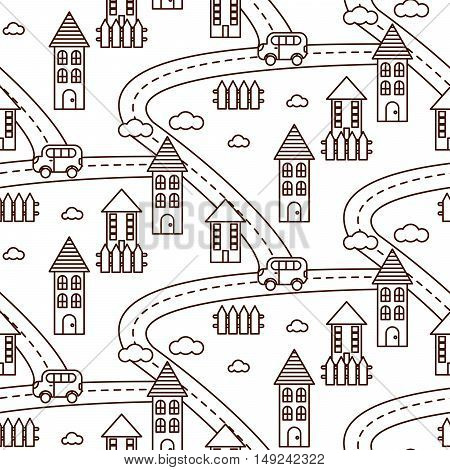 Outline village seamless vector pattern. Countryside landscape with road, houses, car and fields repeat background. Line style coloring page.