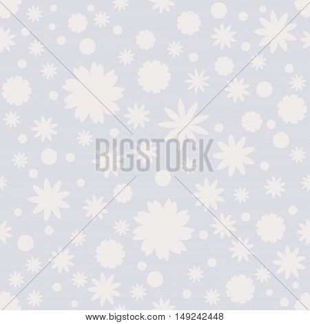 Seamless pattern with gray dot stars snowflake flower on gray background. Winter pastel background. Vector illustration.