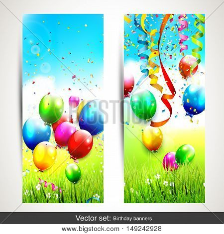 Vector set of two vertical birthday banners