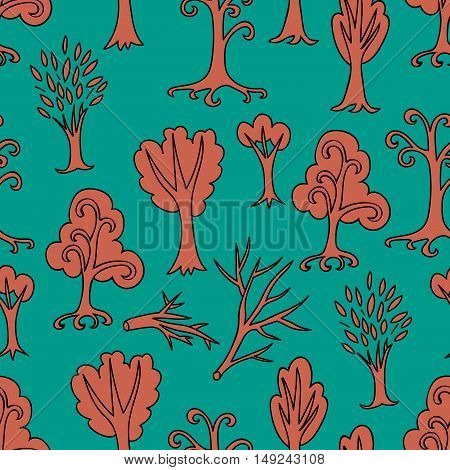 Colorful doodle orange and green seamless pattern of different trees and branches. Hand drawn infinity forest background. Cartoon woodland for design, textile, fabric, wrapping paper, kids. Vector illustration.