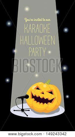 Invitation to karaoke Halloween party. Vector illustration of a cartoon pumpkin in a light spot  singing into a microphone. Long vertical format, black background, yellow text.