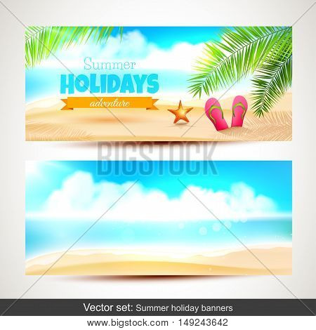 Vector set of summer holiday horizontal banners
