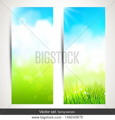 Vector set of two vertical spring banners