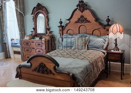 Alexandria Bay, Boldt castle, NY, May 17, 2015 Gorgeous inviting cozy view of old vintage charming, styled lady's bedroom background