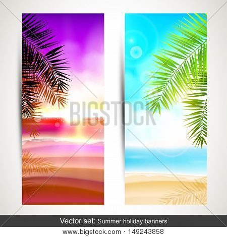 Vector set of summer holidays vertical banners