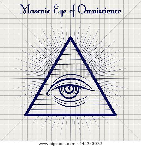 Ball pen sketch of masonic eye of Omniscience on notebook background. Vector illustration