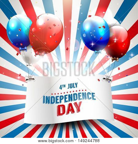 Independence day - vector background with flying balloons