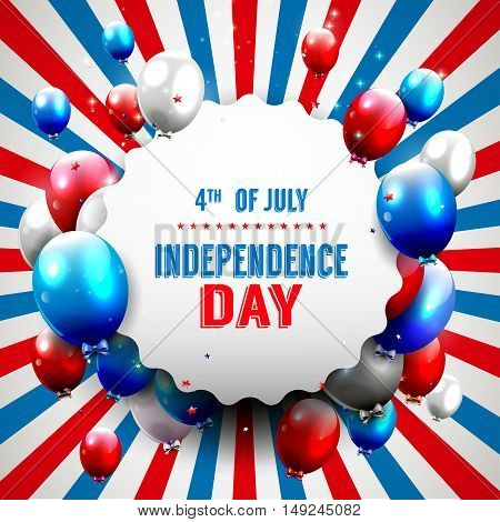 Independence day - vector background with redwhite and blue balloons