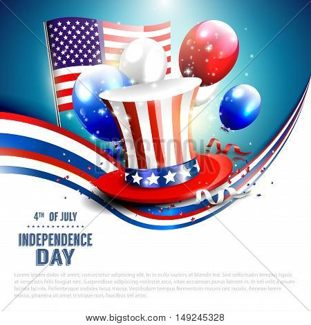 Independence day - vector background with hat and balloons in colors of the American flag