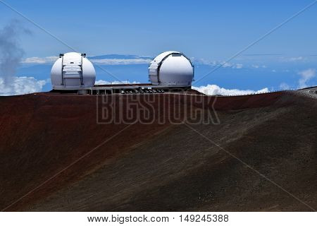 the twin Keck telescopes near the summit of Mauna Kea. Mauna Kea observatories , Big Island, Hawaii