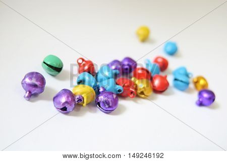 Small colorful bells isolated and Christmas decoration. Christmas ornaments.