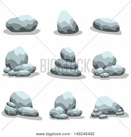 Stone set collection of vector art illustration