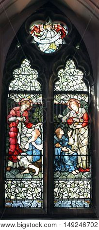 MONTREAL CANADA 09 14 2016 : Stained gals window, Christ Church Cathedral is an Anglican Gothic Revival cathedral in Montreal, Quebec, Canada, the seat of the Anglican Diocese of Montreal.