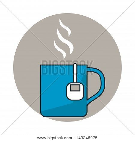 Hot tea mug icon. Drink beverage and breakfast theme. Isolated design. Vector illustration
