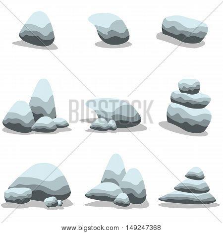 Set stone cartoon of vector art collection