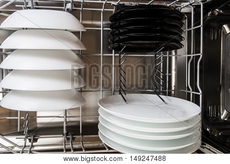 White And Black Plates After Cleaning