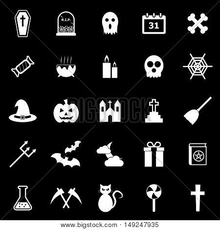 Halloween icons on black background, stock vector