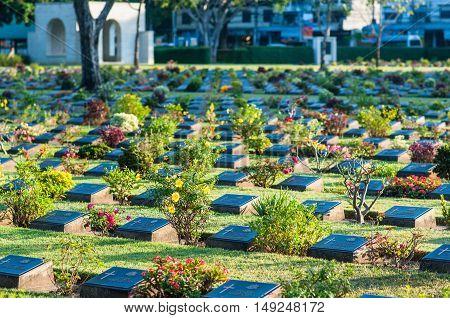 The war cemetery in Kanchanaburi province, Thailand