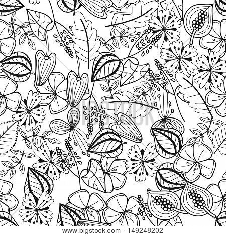 Black and white seamless pattern with flowers, leaves for coloring book. Floral background. Vector illustration