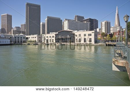 San Francisco skyline and waterfront promenade California.