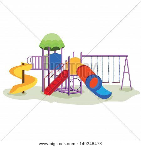 Kids playground equipment with swings slides and tube isolated on white school background Modern flat style vector illustration cartoon clipart.