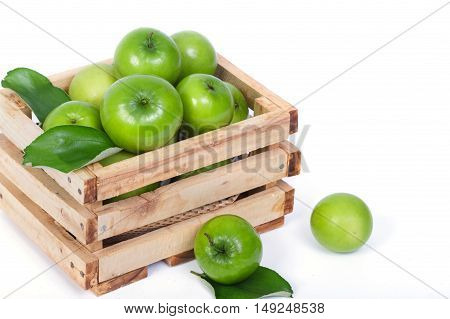 Monkey apple or jujubes in wooden crate