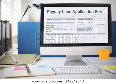 Payday Loan Application Form Salary Debt Concept