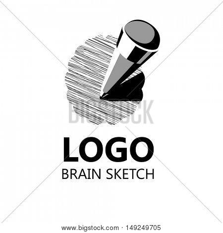 Brain Logo silhouette design vector template. Brainstorm think idea. Vector Illustration. Logotype concept icon.