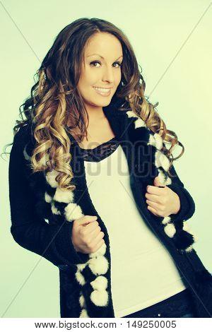Beautiful woman wearing winter fashion