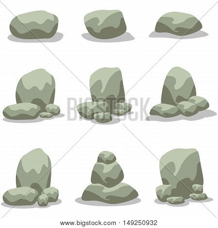 Rock element design of vector art illustration collection