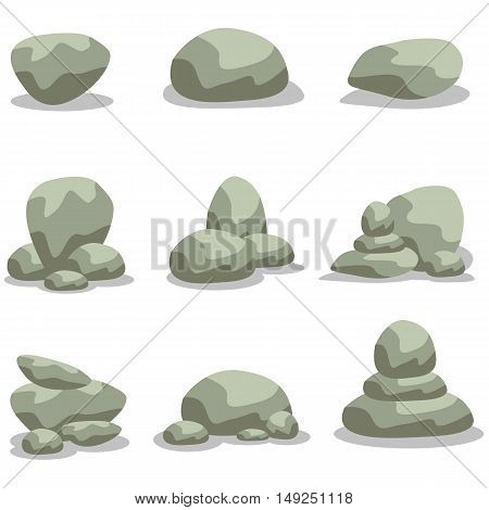 Design rock stone set element of vector illustration