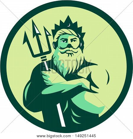 Illustration of triton mythological god arms crossed holding trident viewed from front set inside circle on isolated background done in retro style.