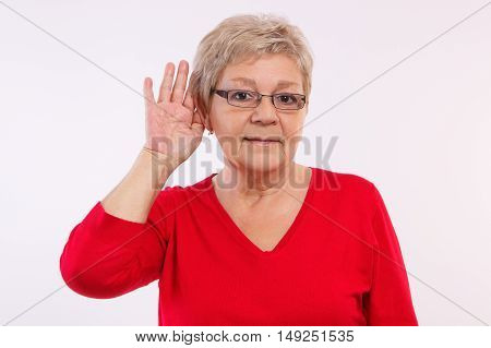 Elderly Woman Placing Hand On Ear, Difficulty In Hearing In Old Age