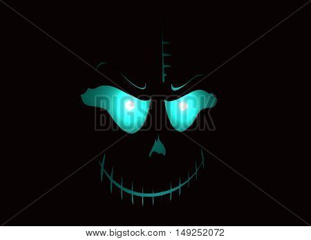 Doodle Skull with Evil Laugh. Simple silhouette. Neon shining. 3D rendering